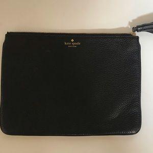 Black leather Kate Spade envelope clutch
